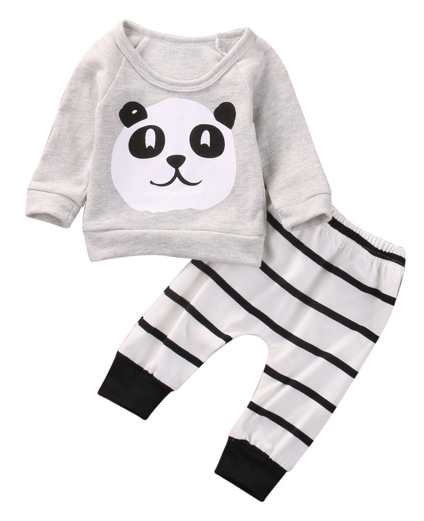 Baby Clothing Sets  Kids Newborn baby Boys Girls Long Sleeve Panda T-shirt +Striped Pants Infant Clothes Outfits Sets 0-18M - Baby Clothes Connect