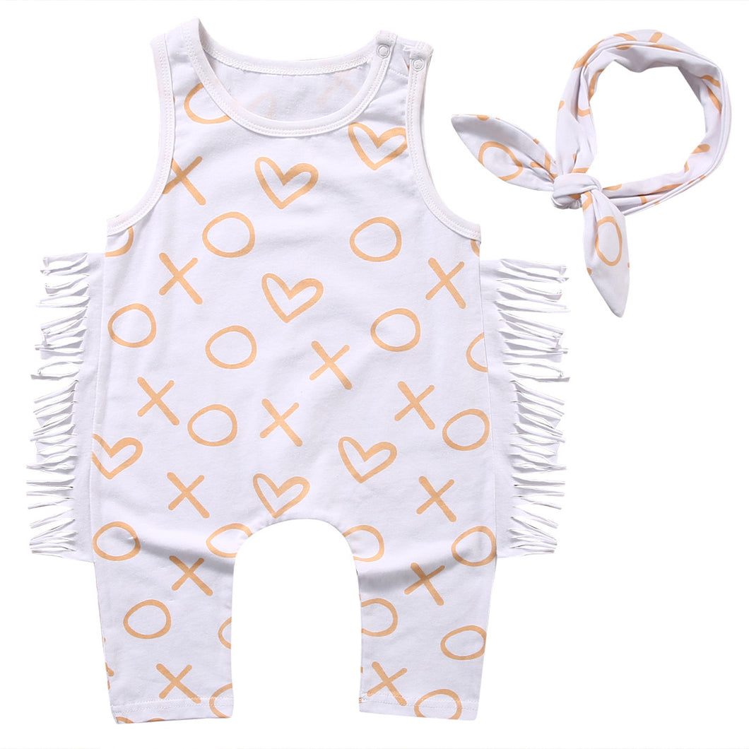 Newborn Baby Girl Clothes Summer Geometric Sleeveless Tassel  Romper +Headband 2PCS Set Outfit Sunsuit Princess Girls Costume - Baby Clothes Connect