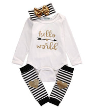 2016 Newborn Baby Boys Girls Autumn Long Sleeve Letter Heart Romper+Striped Leg Warmer+ Striped Gold Bow Headband - Baby Clothes Connect