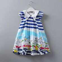 Keeorn Girls Dress European and American style Girls Clothes Seaside town graffiti dress Hit the color striped vest dress kids - Baby Clothes Connect