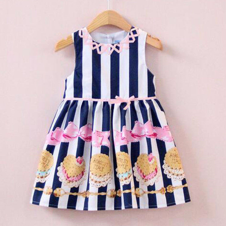 VORO BEVE 2017 Girl Dresses Striped Children Dress For Baby Girls Kids Dresses cake printing Clothes Girl Brand Dress - Baby Clothes Connect
