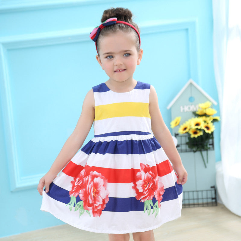Keelorn Girls Dress European and American style Dresses Color stripes Print Dress Girls Clothes For 3-8Y kids dresses for girls - Baby Clothes Connect
