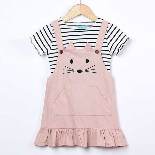 Keelorn Girls Sets 2017 Summer Children Clothing Strap Dress Sets Kids Clothes Pullover Striped Shirt+Dress 2Pcs Suit Outwears - Baby Clothes Connect