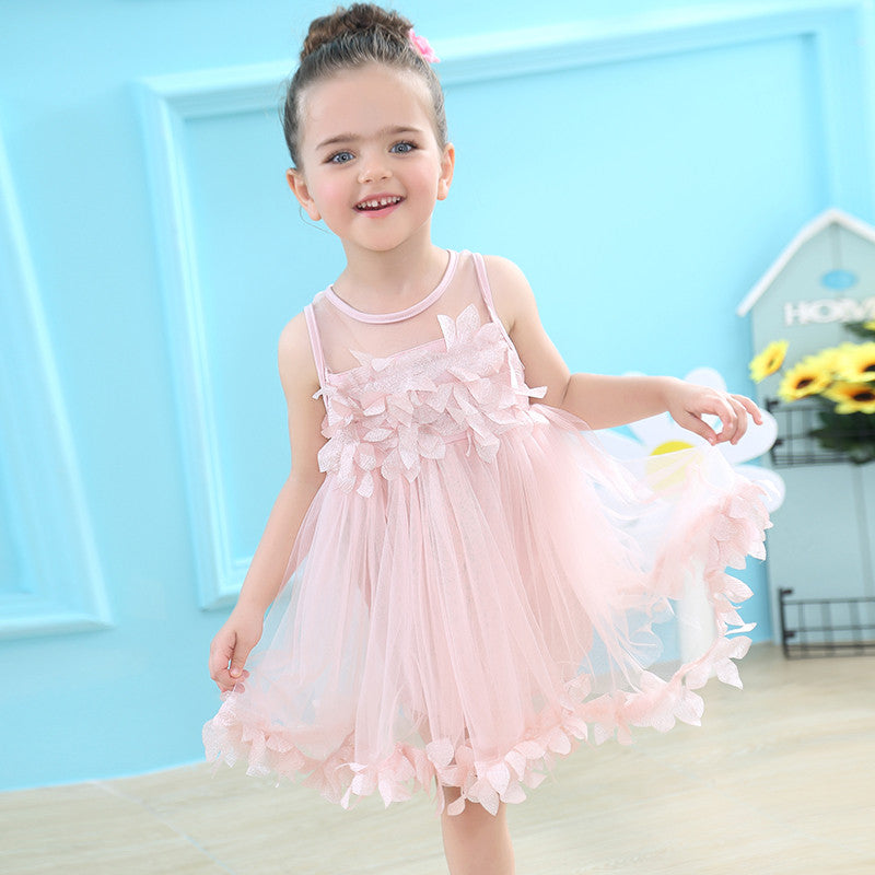 Keelorn Girls Dress 2017 Summer New Mesh Vest  Baby Girl Princess Dress Fashion Sleeveless Petal Decoration Party Dresses - Baby Clothes Connect