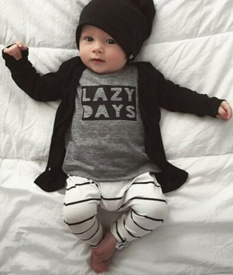 baby boys Girls clothes set  Newbornt Baby Long Sleeve Clothes T-shirt +Striped Pants  Outfits Set 1 2Y - Baby Clothes Connect