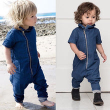Autumn 2016 Fashion Newborn Toddler Baby Boys Girls blue lapel Short Sleeve Zipper Romper Cotton Jumpsuit Outfits Clothes 0-3Y - Baby Clothes Connect