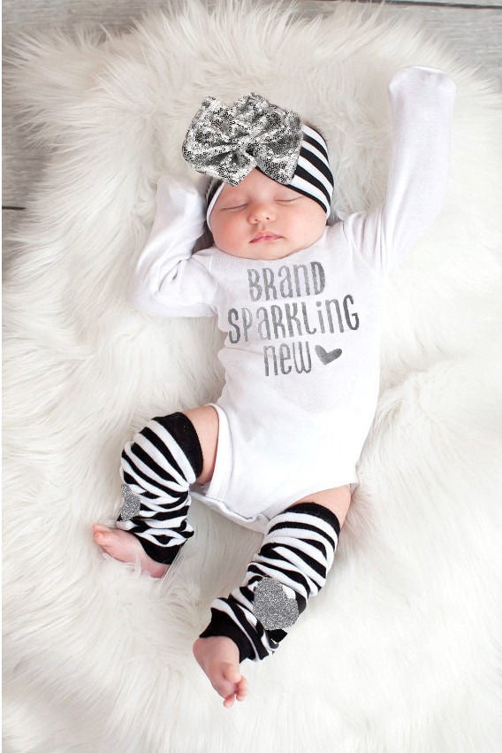3Pcs/Set! Adorable Baby Girl Sequin Christmas Romper+ Stripe Leg Warmer+ Headband Outfits baby Grils  set newborn - Baby Clothes Connect