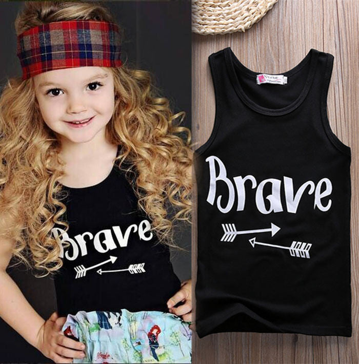 Girl Boys T-Shirts Vest Babys Children Kids Toddlers Clothing sleeveless Black Arrow Printed Letter Cotton vest T-shirt Girls - Baby Clothes Connect
