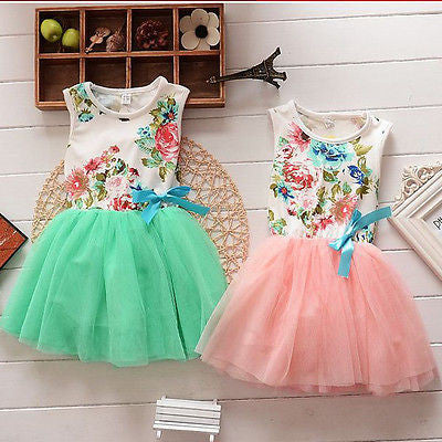 Princess Girls Baby Kids Clothes Ball Gown Party Dresses Bow Cute Summer Floral Tops Fancy Tutu Dress Tulle One-pieces 1-5Y - Baby Clothes Connect