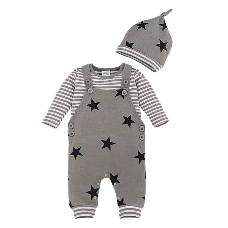 Newborn Baby Sets Spring Autumn Cotton Children Suit Striped T-shirt+Star Bib Pant+Hat Newborn Baby Outerwear Boy Clothing Set - Baby Clothes Connect
