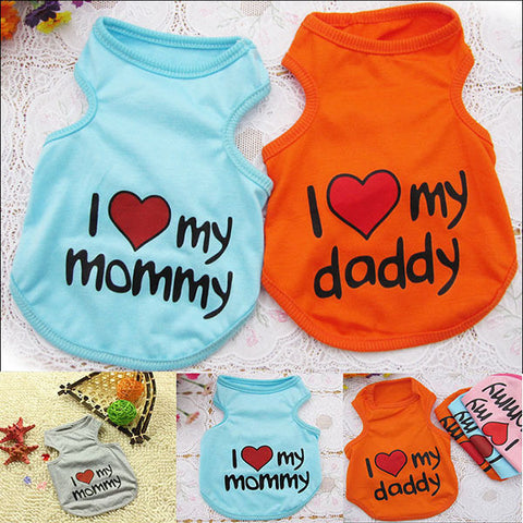 Love Mommy/Love Daddy Doggy Vests (S - XXL)