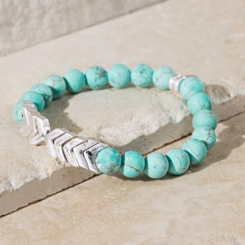TURQUOISE STRETCH BRACELET WITH SILVER CHEVRON