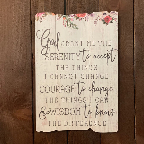 """SERENITY PRAYER"" SPLENDID FENCE WOOD SIGN"