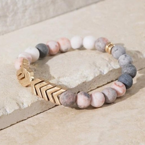 PINK ZEBRA JASPER STRETCH BRACELET WITH GOLD CHEVRON