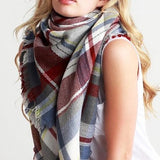 LIGHT BLUE PLAID BLANKET SCARF