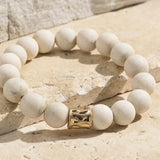HOWLITE WHITE NATURAL STONE STRETCH BRACELET