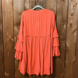BURNT ORANGE LACE UP RUFFLED SLEEVE DRESS