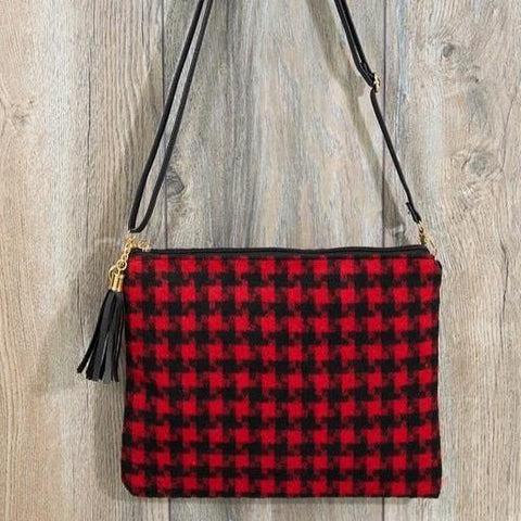 RED HOUNDSTOOTH PURSE