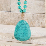 TURQUOISE STONE PENDANT WITH MIXED BEAD NECKLACE