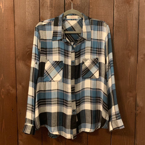 BLUE AND GREY PLAID TOP