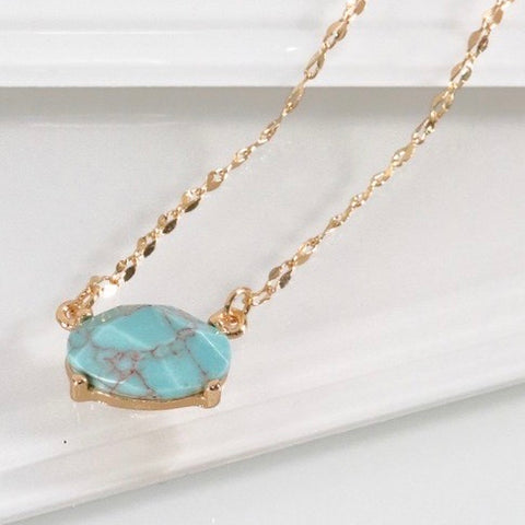 Turquoise Stone Necklace with Gold Chain
