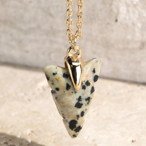 DALMATIAN ARROW NATURAL STONE CHARM NECKLACE