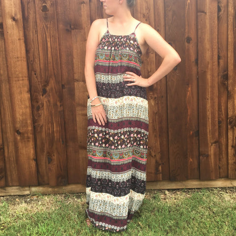 MULTICOLOR PATTERN STRIPE MAXI DRESS