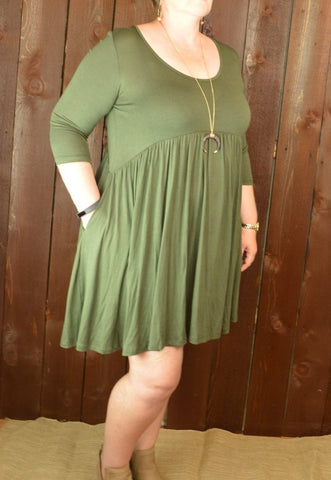 OLIVE 3/4 SLEEVE EMPIRE WAIST DRESS
