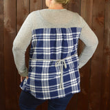 LONG SLEEVE GREY TOP WITH PLAID BOTTOM RUFFLE AND BACK PANEL