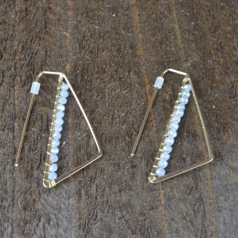 GREY CRYSTAL GEO EARRINGS