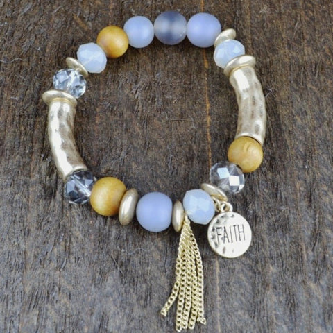 GREY STONE & GOLD BAR BRACELET WITH FAITH CHARM