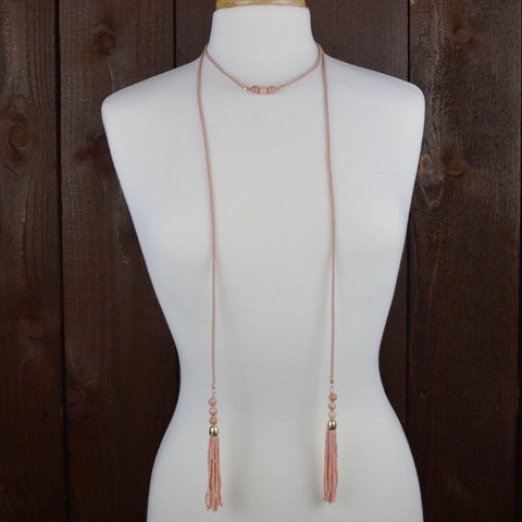 PINK SUEDE WRAP BEADED TASSELS NECKLACE