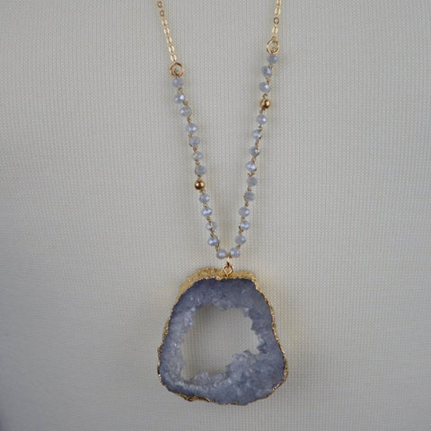 GREY BEADED DRUZY STONE NECKLACE 36""
