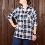 BLACK AND WHITE FLANNEL BUTON UP PLAID TUNIC