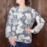 GREY LONG SLEEVE TOP PRINTED FLORAL WITH RUFFLES