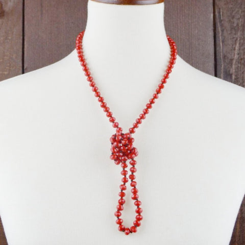 RED BEADED NECKLACE 8mm  36""