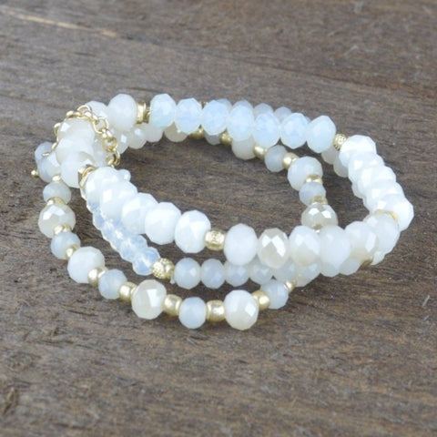 CLEAR & WHITE CRYSTAL MULTI LAYER BEADED BRACELET