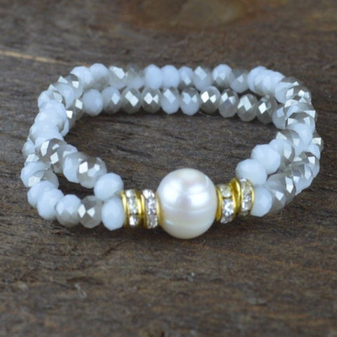 GREY CRYSTAL AND PEARL BEADED BRACELET