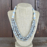 GREY MULTI LAYER BEADED NECKLACE