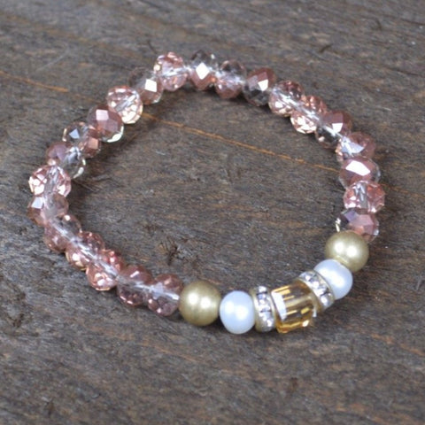 PINK CRYSTAL AND PEARL BEADED BRACELET