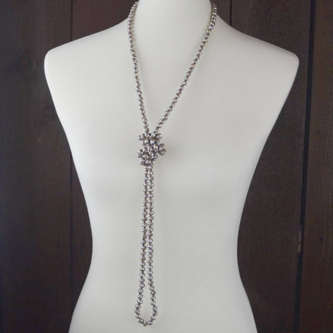 GREY CRYSTAL BEADED NECKLACE 60""