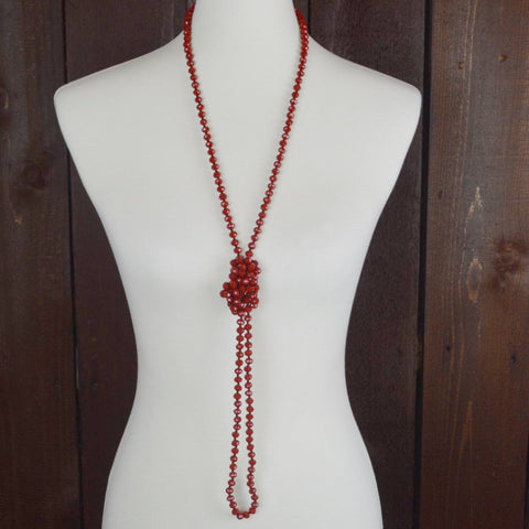 RED CRYSTAL BEADED NECKLACE 60""