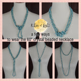 TURQUOISE CRYSTAL BEADED NECKLACE 60""