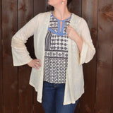 CREAM CARDIGAN WITH CROCHET DETAIL