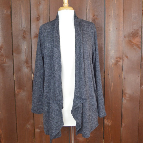 HEATHERED BLACK CARDIGAN WITH WATERFALL COLLAR