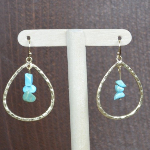 GOLD TEAR DROP WITH TURQUOISE STONES EARRING