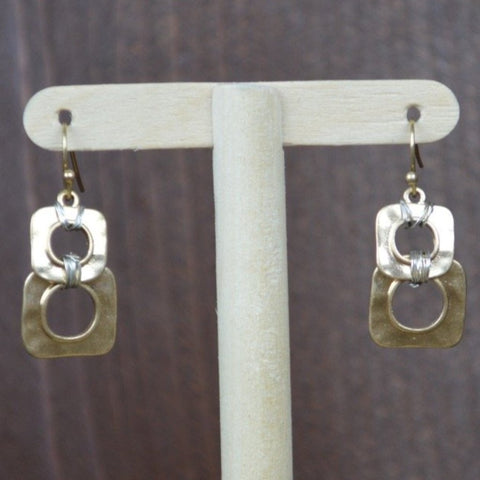 GOLD WIRE WRAPPED SQUARE EARRINGS