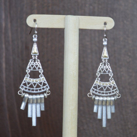 SILVER TRIANGLE LONG EARRINGS