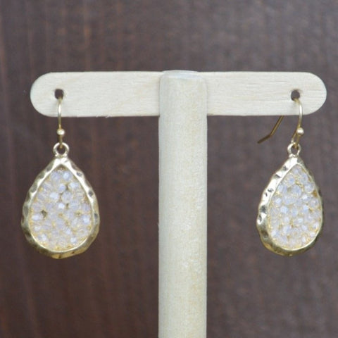 GOLD DROP WITH CRYSTAL BEADS EARRINGS