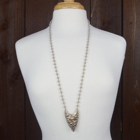 GREY CRYSTAL BEADED ARROWHEAD NECKLACE